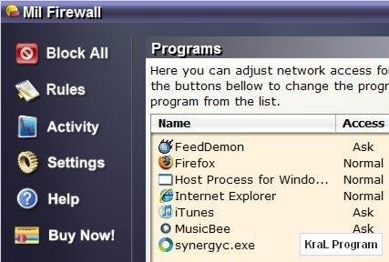 Mil Firewall 2.2 Guvenlik duvari yazilimi