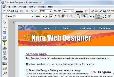Xara Web Designer 5.0 Web sitesi yapma programi