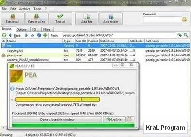 PeaZip 2.7 Sikistirma ve acma programi