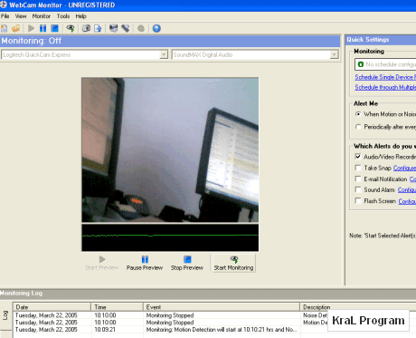 WebCam Monitor 5.22 kamera kayit programi