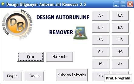 Autorun.inf Remover 0.5 Autorun virusu temizleme programi
