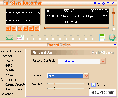 FairStars Recorder 3.30 Ses kayit programi