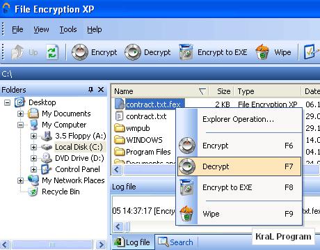 File Encryption XP 1.5.154 dosya sifreleme programi