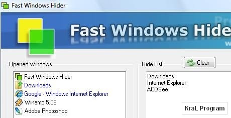 Fast Windows Hider 3.7 Hizli program gizleyici