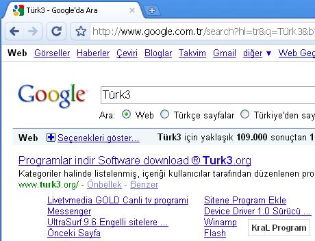 Google Chrome 5.0.307.1 Internet tarayici