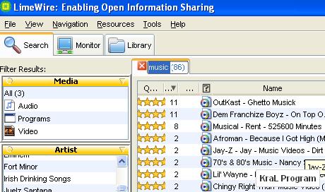 LimeWire Basic 5.5.7 populer dosya paylasim programi