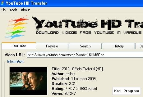 Youtube HD video indirme programi