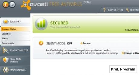 Avast Antivirus 5.0.533 RC Kaliteli antivir�s program�