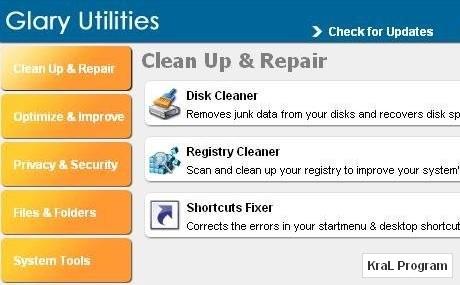 Glary Utilities 2.22.0.896 Bilgisayar hizlandirici