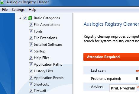Auslogics Registry Cleaner 2.0.3.30 Bilgisayar hızlandırıcı