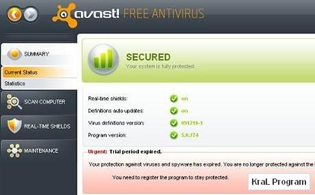Avast 5.0.594 Ücretsiz antivirüs programı
