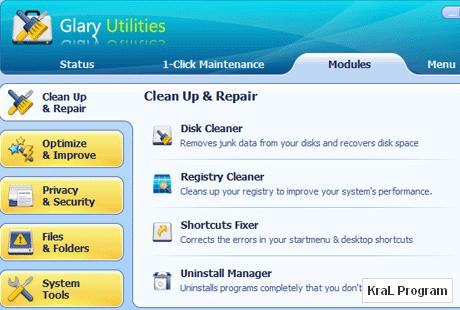 Glary Utilities 2.26.0.956 Bilgisayar hızlandırma programı