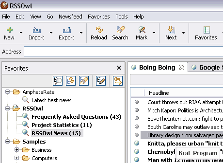 RSSOwl 2.0.6 Rss okuyucusu