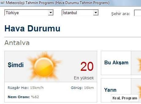 Meteoroloji Tahmin 2.1 Hava Durumu Program�