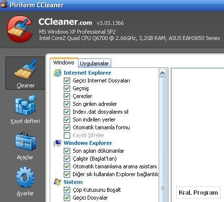CCleaner 3.03.1366 Bilgisayar temizleme program�