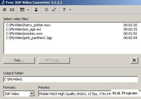 Free 3GP Video Converter 3.7.17 Video dönüştürücü