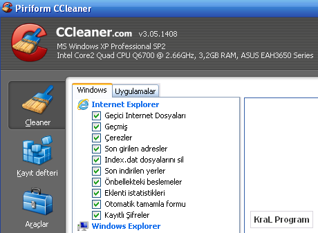 CCleaner 3.05.1408 Bilgisayar temizleme programı