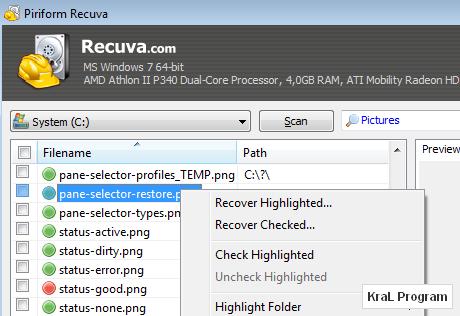 Recuva - Dosya kurtarma programı